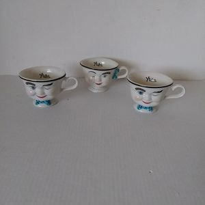 Vintage Bailey's Winking  Face Teacups